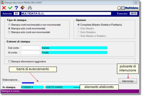 altro procedimento in corso di esecuzione: la barra di avanzamento è di tipo noise: non è possibile calcolare la percentuale di completamento