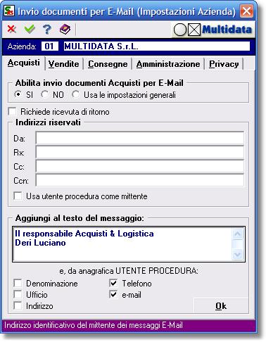 Anagrafica azienda - impostazioni avanzate per invio e-mail