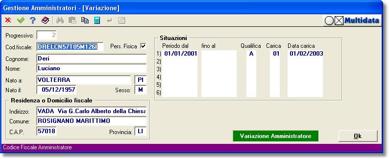 Anagrafica azienda - Informazioni per amministratore