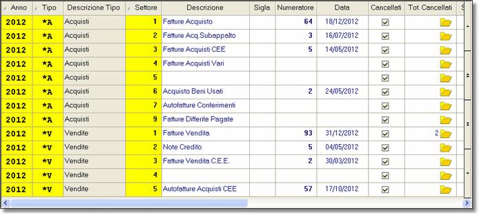 """Numeratori della sezione """"Registri IVA"""""""