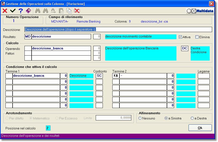 Esempio di Operazione associata alla Descrizione di una Registrazione Contabile