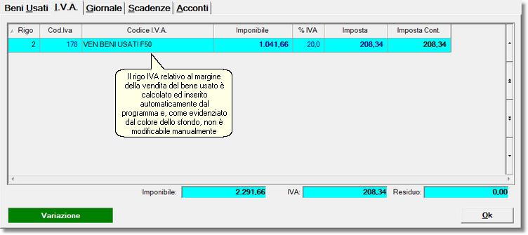 Parte IVA della registrazione, con il rigo relativo al bene usato venduto