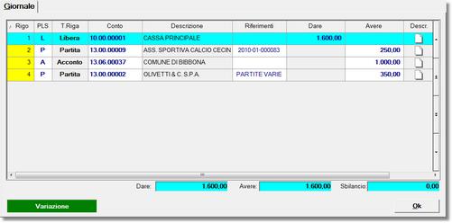 esempio di registrazione in modalità fattura