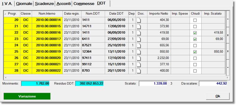 scheda di chiusura DDT fornitori