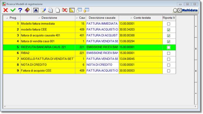 selezione modello di registrazione