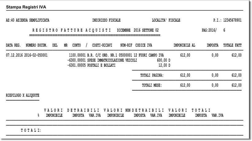 La registrazione di sopra come riportata nei registri IVA