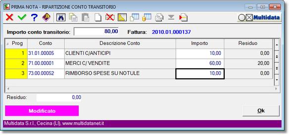 gestione del pagamento per ripartizione del conto transitorio