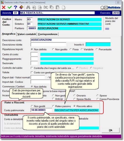 impostazioni per ratei e risconti su anagrafica del conto contabile