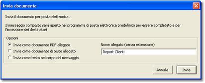 Parametri per l'invio del documento visualizzato per posta elettronica